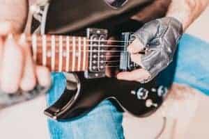 Eine E-Gitarre im Close Up